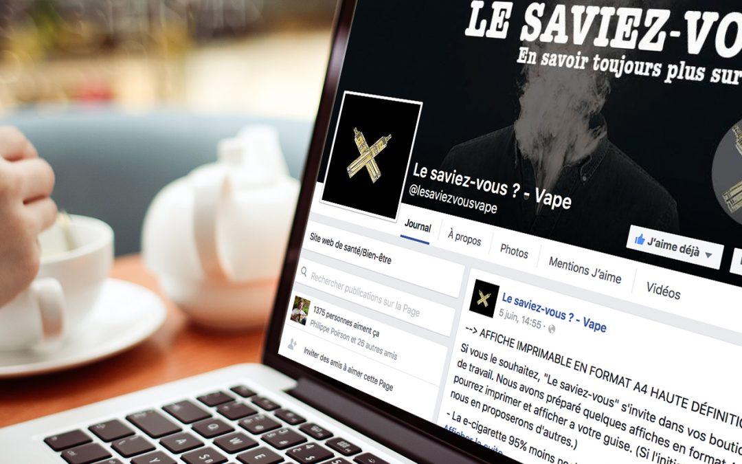 Page Facebook - Le saviez-vous ? - Vape
