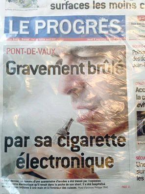 Info alarmiste e-cigarette dans le Progrès