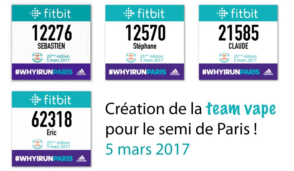 Team vape pour le semi-marathon de Paris le 5 mars 2017