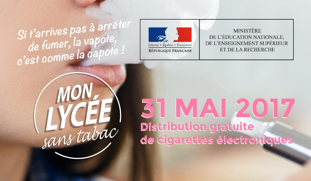 LA vape pour Mon lycée sans tabac, distribution de cigarettes électroniques