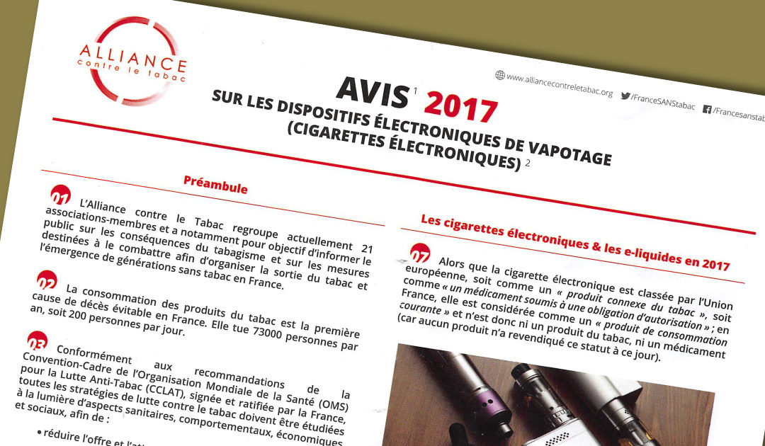 Alliance contre le tabac donne son avis sur la vape (cigarette électronique)