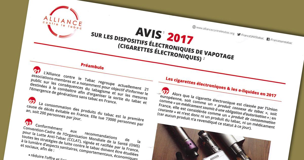 alliance contre le tabac propose un avis sur le vapotage cigarette lectronique. Black Bedroom Furniture Sets. Home Design Ideas