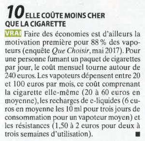 la vapotage coûte moins cher que la cigarette