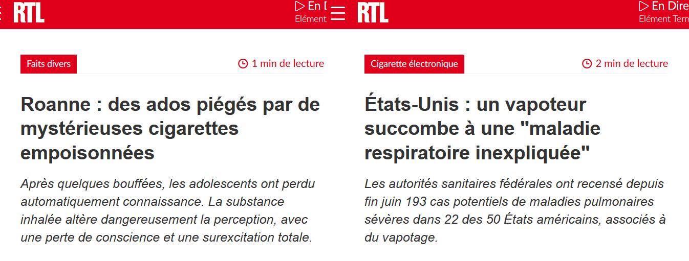 Vapotage et poison dans les cigarettes - RTL