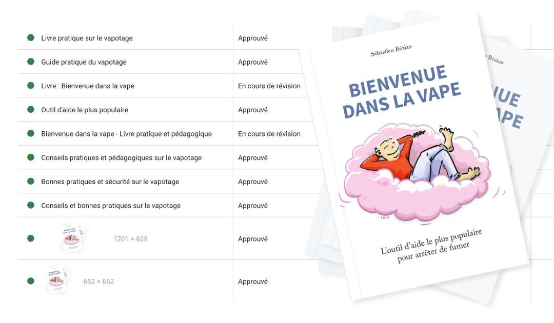 Google a approuvé une campagne de publicité pour le livre Bienvenue dans la vape