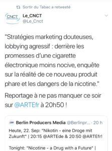 Le CNCT association anti-vape et anti-nicotine
